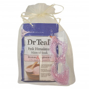 Dr Teals Mineral Soak Bath Salts Gift Set Featuring 1.4kg Pure Epsom Soak, Gel Bead Eye Mask, and Packed in Organza Bag