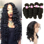Mink Hair Loose Wave with 360 Frontal (12 14 16+10) 8A Grade Brazilian Loose Wave Bundles Virgin Human Hair Extensions with 360 Free Part Lace Frontal Closure Natural Colour