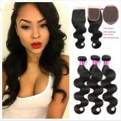 JiSheng Hair 8A Mink Brazilian Virgin Hair Body Wave 3 Bundles with Lace Closure 100% Unprocessed Brazilian Hair with Closure Human Hair Weave Bundles Natural Colour