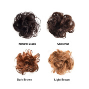 100% Human Hair Flexible Scrunchie Wrap For Wave Curly Hair Buns