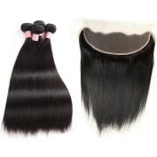 33cm x 10cm Full Lace Frontal Closure Ear To Ear Free Part Unprocessed Brazilian Virgin Hair Silky Straight Human Hair Extensions Top Lace Front Closures With Baby Hair Bleached Knots