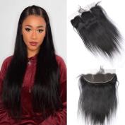 GEM Hair Brazilian Virgin Hair 13x 4 Closure Straight Ear to Ear Lace Frontal 1pc 50cm Brazilian Straight Human Hair Natural Black
