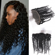 GEM Beauty Brazilian Virgin Hair Curly Wave Lace Frontal Closure With Baby Hair Brazilian Curly Hair Ear to Ear Lace Frontal 1pc 41cm 1B Colour