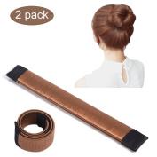 2 Pcs Ladies Fashion Hair Styling Tool Spring Fashion Hairstyle Donut Hair Bun Maker DIY Bridal Hairstyle Roll, Reddish Brown