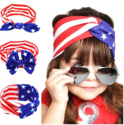 GAMT Solid Cotton American Flag Bow Knot Hairdress for Women and Children Red