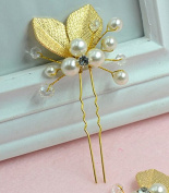 [5 packed] Wholesale Gold Hand-Painted Leaves Pearl Hair Pin Wedding Bridal Bridesmaids Hair Makeup Accessories