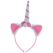 Mmrm Cute Girls Unicorn Shaped Hair Hoop Flower Decorated Headband Hair Accessory