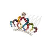 Wedding Bridal Colourful Rhinestone Detailing Hair Crown Tiara Comb Pin