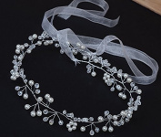 Wedding Headband Bridal Pearl Crystal Hair Vine with Ribbons for Women and Girls