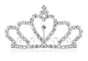 Lovelyshop Mini Crown Rhinestone Hair Comb for Wedding Bride Prom Birthday Pegeant Prinecess Party