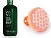 Tea Tree Shower Kit. Paul Mitchell Tea Tree Special Shampoo, 300ml With a Vanity Planet Groove Rejuvenating Scalp Massager, Orange.