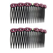 DealMux Plastic Flower Design Lady Hairstyle Decor Inlaid 18 Teeth Comb Hair Clips Fuchsia