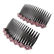 DealMux Women Lady Plastic Bling Rhinestone Hair Comb Clip Slide Hairclip 2pcs Pink