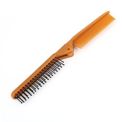 DealMux Home Foldable Design Brown Plastic Hair Comb Black Rounded Teeth Hairbrush