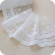 off White 5 Yards Retro 3D Floral Embroidered Mesh Lace Dress Edge Lace Trim Fabric Ribbon Wedding Bridal Veils Craft 15cm Width