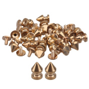 """8mm/0.31"""" Dia Solid Brass Tree Spikes Studs Metallic Screwback For Leathercraft Punk Style Pack of 20"""