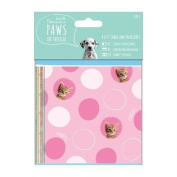 Docrafts Papermania Paws for Thought - 4x4 Cards & Envelopes - Kittens Puppies