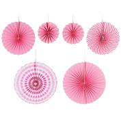 6 PCS 3 Size Colourful Round Wheel Decorative Paper Fans for Party Festival Birthday Wedding Event Home Decoration Pink