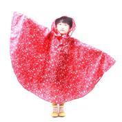 AxiEr Kids Raincoat Fashionable Rain Cape Poncho Raincoats White with Stars and Cape
