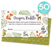 Woodland Nappy Raffle Tickets with Owl and Forest Animals. Pack of 50 Fill In The Blank Unisex Design Suitable for Boy or Girl.