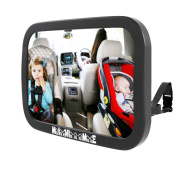 Rear Facing Car Seat Baby Mirror Travel Safety Comfort Extra Large 11 x 7.5 Wide Angle Shatterproof Mirror