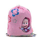 [RusToyShop] Bag for Shoes Masha and the Bear Backpack Bag E Orso Kindergarten for Baby Preschool Bag Masha and the Bear, Baby Bag, Small Backpack Kids Cute Backpack Kindergarten Little Girl Rose Grey