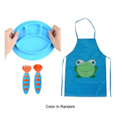 Sealive Toddler Placemat Suction Plate Microwave Safe + Children's Artist Aprons Paint Eat Drink Aprons + 1 set Baby Fork and Spoon Set Infant Weaning Spoons Self-feeding Flatware