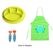 Sealive Baby Silicone Placemat BPA Free Suction Plate Microwave Safe Green Feeding Tray + Kids Cartoon Waterproof Print Apron Paint Eat Drink Outerwear Bibs Apron + Baby Fork and Spoon Set
