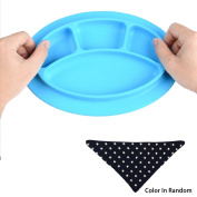 Sealive Baby Silicone Placemat BPA Free Suction Plate Blue,with 1 pc Baby Bibs Bandanas Drool Bibs for Baby Boys(Random Colour),Self-feeding Flatware Leaning Tools for Baby Kids Toddlers