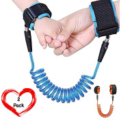 (Twin Pack) Babyboo Child Safety Harness for Toddlers | Anti Lost Wrist link for Children | Extra Light and Durable Child Leash [1.5m + 2.5m]