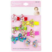 INFANT 6PC FLORAL BOW SALON CLIPS