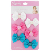 INFANT 6PC SATIN BOW SALON CLIPS