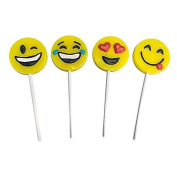 Yellow Emoji Smile Face Lollipop Sucker 2 Dozen