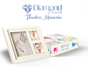 Baby Hand & Footprint Clay Mould Picture Frame Kit with 2 Photo Slots, Baby Shower Gifts Registry, Memorable Keepsake, Table or Wall, Top Quality Wood Clay, Acrylic Cover will not break Diamond Driven