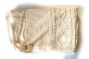 Pottery Barn Kids Girls Boys Knit Stroller Nursery Blanket Beige 42″ X 32″