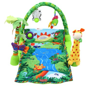 JHD Baby Forest Gym Music Game Blanket Fitness Rack Floor Crawl Play Mat Cushion for Kids