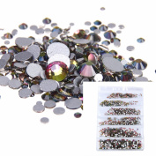 Nizi Jewellery Nail Rhinestones 1680pcs Rainbow colour Silver Foiled Mixed Sizes ss3 ss4 ss5 ss6 ss8 ss10 Nail Art Strass Stone Diy Craft Tiny Rhinestone Perfect for Nail art
