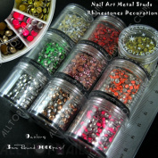 3D Nail Art Decorations DIY 9 colours Metal Studs Rhinestones 3mm Faceted Round 9000x Lead & Nickel Free Nail Decoration Studs