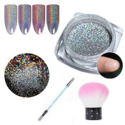 NICOLE DIARY Holographic Laser Powder Pigment Super Shine Holo Rainbow Nail Art Glitter Dust Decoration with Nail Art Painting Pen & Brush