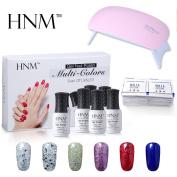HNM Nail Gel Polish UV LED Soak Off 6 Colours Set SUNMINI LED Nail Lamp Remover Wraps Manicure Starter Kit w/Gift Box G101