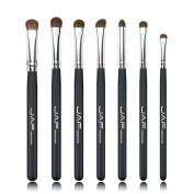 VIASA Profesional Makeup Brushes Horse Hair Eyeshadow Cosmetic Foundation Makeup Brushes 7Pcs/set (Black & White & Pink)