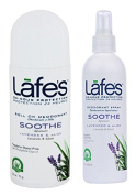 Lafe's Soothe Roll On Deodorant and Deodorant Spray Bundle With Lavender and Aloe, 70ml and 120ml