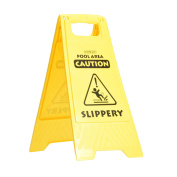 """Swimming Pool Caution Warning Safety Floor Sign """"Pool Area, Caution, Slippery"""""""