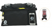Aura Luxe Universal Stroller Organiser 2 Bottle Cup Holders and 1 Mosquito Stroller Net - Black