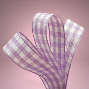 1.6cm . Wide Purple White Gingham Ribbon - 25 Yards