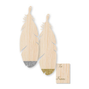 C.R. Gibson Jumbo Wood Gift Tags 2 Each of 2 Designs, Mixed Metallic
