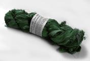 100g Recycled Sari Silk Ribbon Yarn, Jewellery Making Trim - Medium Green