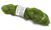 100g Recycled Sari Silk Ribbon Yarn, Jewellery Making Trim - Parrot Green