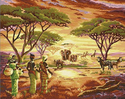 JynXos Diy Oil Painting by Numbers, Paint by Number Kits - African Grassland Landscape 4110cm - PBN Kit for Adults Girls Kids Christmas New Year Decoration Gift