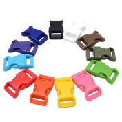 1.6cm Contoured Plastic Side Release Buckles for Paracord Bracelets,Multiple Colours 12 Pack